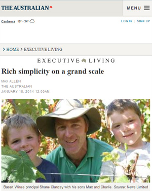 screenshot of article in The Australian
